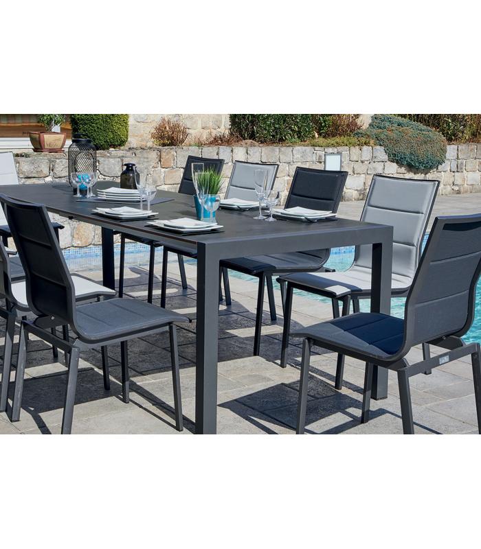 Table extérieur à rallonge couleur ardoise et 10 chaises LILY