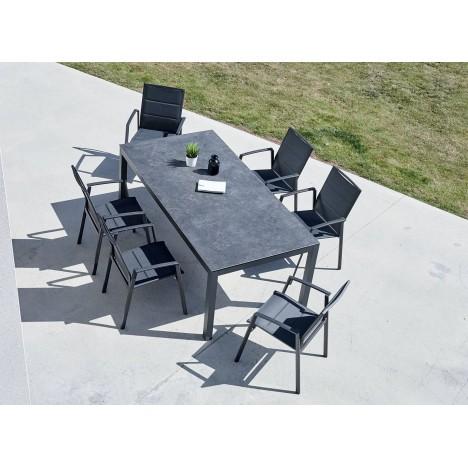 Ensemble jardin table ardoise céramique et 6 fauteuils YASMINE