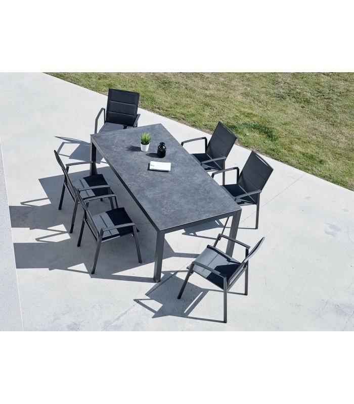 Ensemble jardin table ardoise céramique et 6 fauteuils YASMINE ...