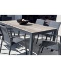 Table céramique couleur bois et 6 fauteuils empilables