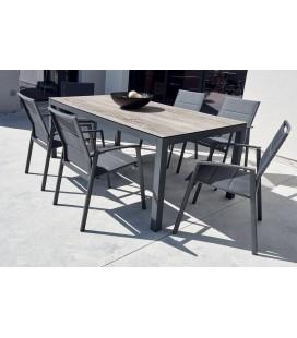 Ensemble jardin table bois céramique et 6 fauteuils YASMINE
