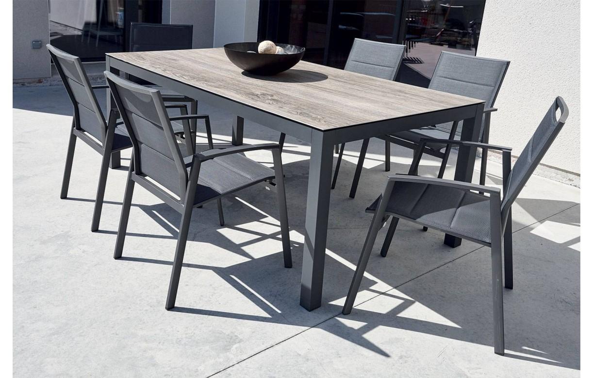 Ensemble jardin table bois céramique et 6 fauteuils YASMINE ...