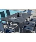 Table de jardin + 8 fauteuils empilables en aluminium