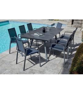 Ensemble extérieur table + 8 fauteuils NOEMIE