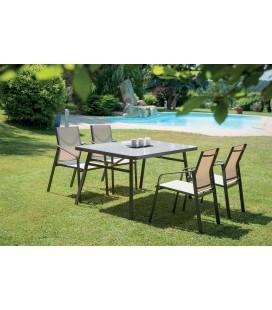 Ensemble de jardin table + 4 fauteuils couleur noisette THEA
