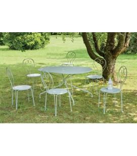 Table métallique couleur tilleul + 6 chaises - Kit de jardin