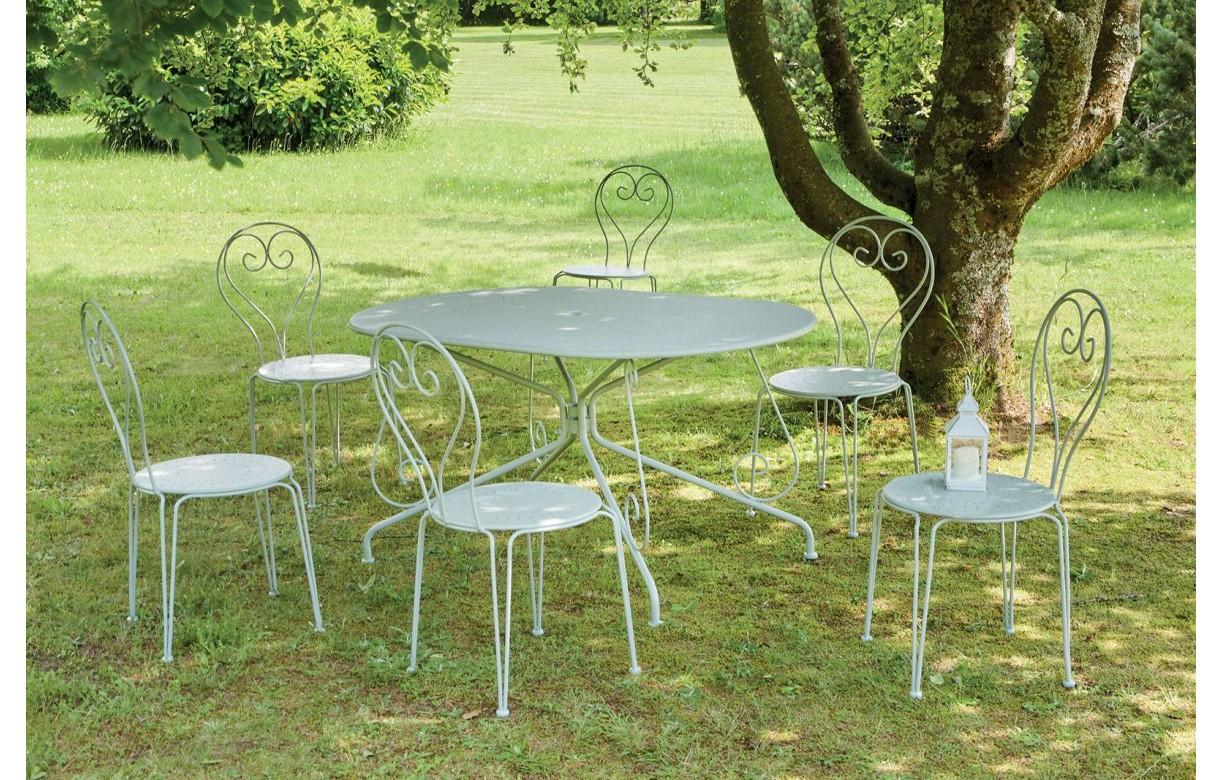 Ensemble de jardin table en métal + 6 chaises ALIX - Decome Store