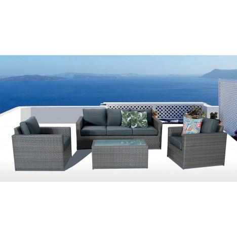 Salon de jardin de luxe 5 places gris anthracite SACHA - Decome Store