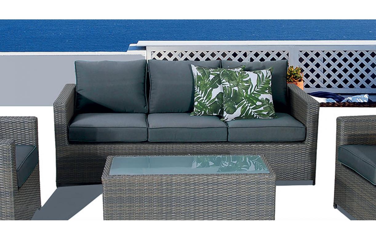 Salon de jardin de luxe 5 places gris anthracite SACHA ...
