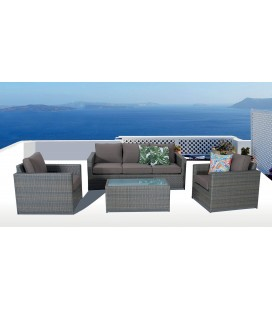 Salon de jardin de luxe 5 places couleur taupe SACHA