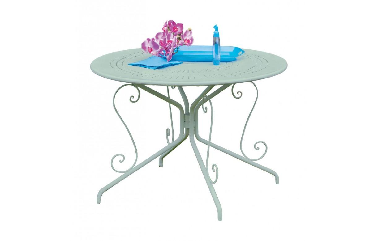 Salon de jardin en métal couleur tilleul LIAM - Decome Store