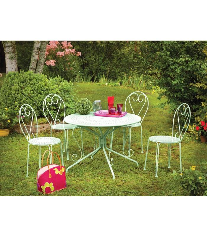 Salon de jardin en métal couleur tilleul LIAM