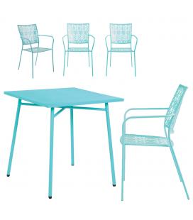 Petit salon de jardin avec table bleue et 4 chaises bleues NOAH