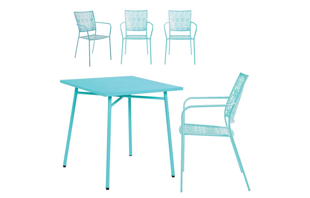 Petit salon de jardin avec table bleue et 4 chaises bleues NOAH ...
