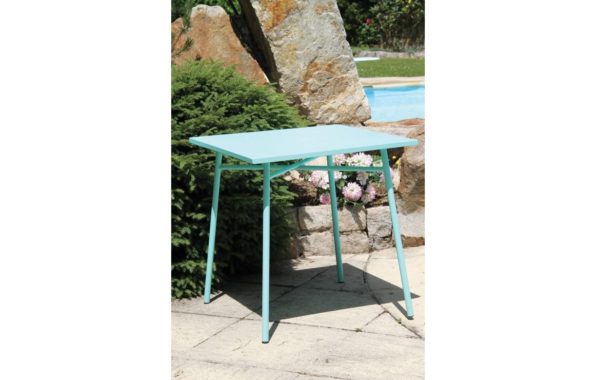 Petit salon de jardin avec table bleu et 4 chaises mauves ...