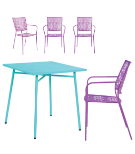 Petit salon de jardin avec table bleu et 4 chaises mauves NOAH
