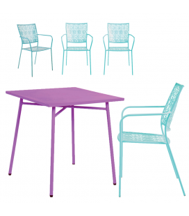 Salon de jardin - table mauve et 4 chaises bleues lagon