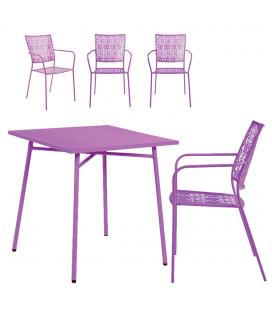 Petit salon de jardin avec table mauve et 4 chaises mauves NOAH