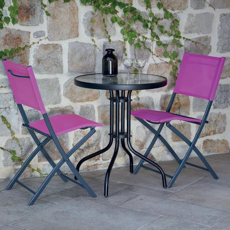 Table Et Chaises De Jardin 2 Personnes Portofino Rose