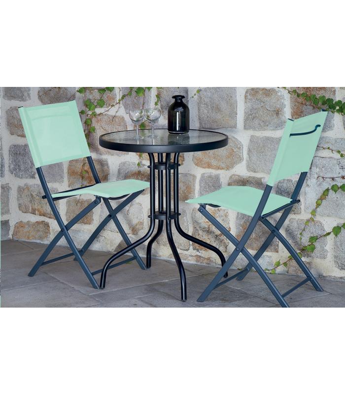 Set Table Et Chaises De Jardin Vert Menthe 2 Personnes Lisboa
