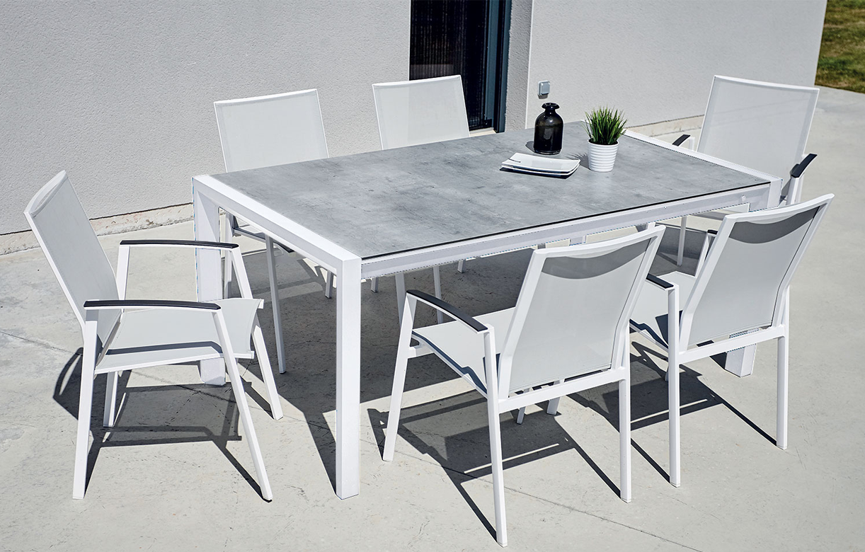 Ensemble extérieur table + 6 fauteuils empilables CASSANDRE ...
