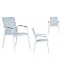 Table extérieur en aluminium + 6 fauteuils empilables perle