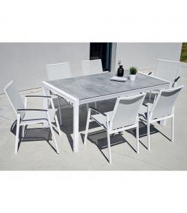 Ensemble extérieur table + 6 fauteuils empilables CASSANDRE
