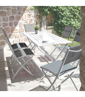 Table pliante couleur taupe + 6 chaises pliantes GWENN