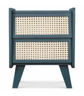 Table de chevet 2 tiroirs style rotin bleu HANOI -
