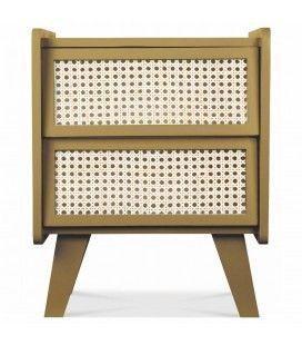 Table de chevet 2 tiroirs style rotin miel HANOI