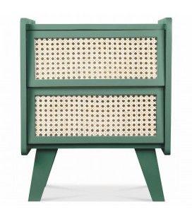 Table de chevet 2 tiroirs style rotin thym HANOI -