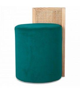 Tabouret velours vert bleu avec dossier effet rotin HANOI
