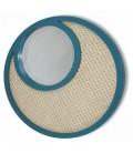 Miroir rond bleu vert en osier rotin et verre HANOI -