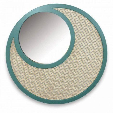 Miroir rond vert en osier rotin et verre HANOI -