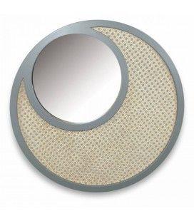 Miroir rond gris en osier rotin et verre HANOI -