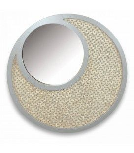 Miroir rond blanc en osier rotin et verre HANOI -