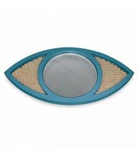 Miroir oeil bleu en osier rotin et verre HANOI -