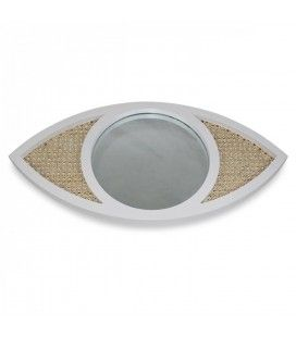 Miroir oeil blanc en osier rotin et verre HANOI -