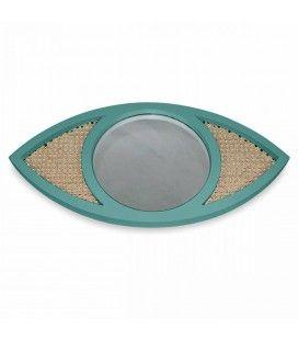 Miroir oeil vert thym en osier rotin et verre HANOI -