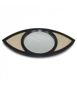 Miroir oeil noir en osier rotin et verre HANOI -
