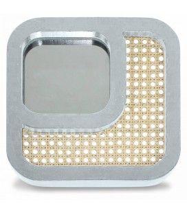 Miroir carré avec design effet rotin blanc HANOI -