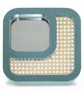 Miroir carré avec design effet rotin vert HANOI -