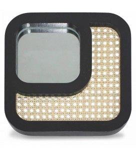 Miroir carré effet rotin et contour noir HANOI -