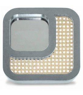 Miroir carré effet rotin et contour gris HANOI -