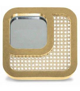 Miroir carré avec design effet rotin et contour miel HANOI -