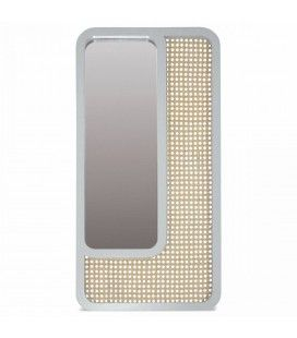 Grand miroir rectangle blanc design en rotin HANOI -