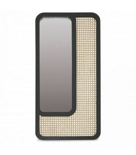 Grand miroir rectangle noir design en rotin HANOI -