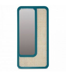 Grand miroir rectangle bleu vert design en rotin HANOI -