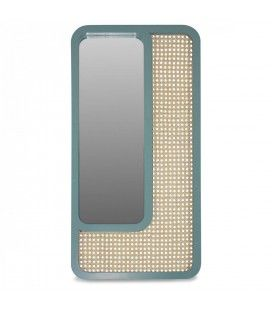 Grand miroir rectangle vert design en rotin HANOI