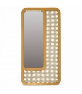 Grand miroir rectangle miel design en rotin HANOI -